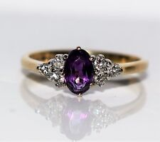 Amethyst & Diamond Cluster 9ct GOLD ring size J ~ 4 3/4