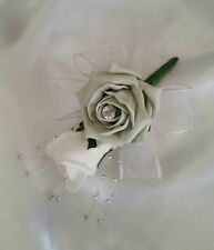 Wedding Buttonhole/Corsage Silver & White Roses White Ribbon Silver Ball Sprays