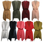Womens Ladies Belted Sleeveless Waterfall Duster Coat/ Jacket