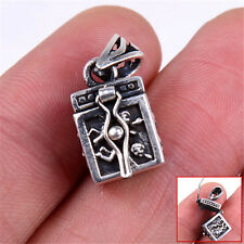 Genuine 925 Sterling Silver Etched Two Angel Square Locket 8x12mm Pendant M136