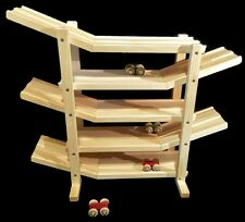 FLIP ROLLER CAR RACE TRACK ROLLER Amish Handmade Wood Toy w/ 6 Colored Cars USA