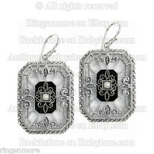 BEAUTIFUL .925 STERLING SILVER FILIGREE CAMPHOR GLASS SEED PEARL EARRINGS