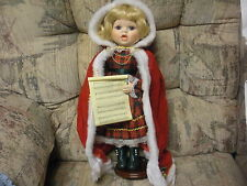 1991 BRINN'S BIRTHSTONE MISS DECEMBER CAROLING GIRL with stand and box ; 16 inch