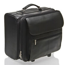 "BNWT BLACK LEATHER 17"" LAPTOP TROLLEY WHEELED BRIEFCASE BAG / TRAVEL LAPTOP BAG"