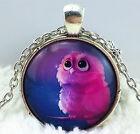 Vintage Owl Cabochon Tibetan silver Glass Chain Pendant Necklace #321