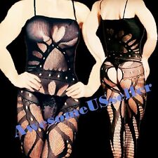 MEN Male XS 2XL Sexy PLUS SIZE CROTCHLESS Bodystocking suspender Dress HOT#312