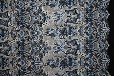 Tonal Floral Embroidered Lace Dress Fabric Material (Royal Blue/Duck Egg,Black)