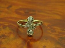14kt 585 GOLD BICOLOR RING MIT 0,20ct BRILLANT & DIAMANT BESATZ / ART-DECO RG 58