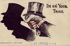 I'M ON YOUR TRAIL Hand shadow - Man in top hat 1910 cpyrt R. L. Wells