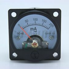 2pcs 45mm Round Moving coil Panel Meter Dc200Ma for 2A3,300B,6550,211,Kt88,84 5