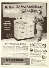 1950 vintage appliance Ad. Universal Select-a-Range Stove, oven on top!  -021014