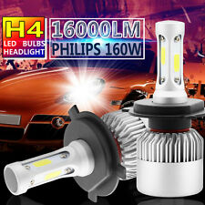 Pair PHILIPS 160W 16000LM LED Headlight Kit H4 9003 HB2  Hi/Low Beam 6000K Bulbs