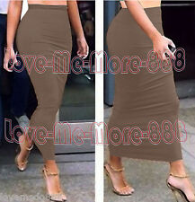 Solid Tight Fitted Slim Casual Party Club Tube Maxi Long Skirts Dress Tan SMALL