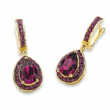 PalmBeach Jewelry Purple Crystal SWAROVSKI ELEMENTS 14k Gold-Plated Earrings