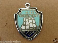 Vintage silver CONNECTICUT STATE ANTIQUE SHIP TRAVEL SHIELD BRACELET charm