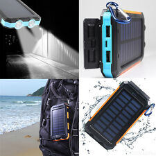 Impermeable 300000mAh Solar Power Bank Cargador de batería doble USB LED Luz Sos