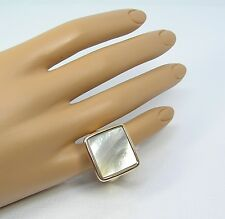 14k Yellow Gold Bold Square Ring White Mother of Pearl Size 10 J265500 QVC $422