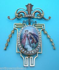 EXQUISITE VICTORIAN 18K GOLD ENAMELED BROOCH / LOCKET (#325)