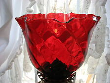 """GWTW 4"""" FITTER STAINED RUBY SWIRL OPTIC GAS SHADE CRIMPED TOP 6"""" hgt 8 1/4 dia"""