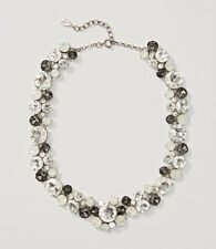 ANN TAYLOR LOFT MONOCHROME CRYSTAL CLUSTER NECKLACE, NWT, SOFT SILVER,STATEMENT