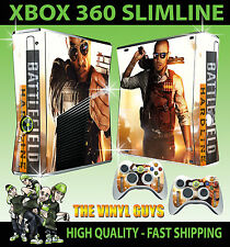 XBOX 360 SLIM BATTLEFIELD HARDLINE STICKER SKIN & 2 X PAD SKIN DECAL ACCESSORIES