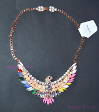Stunning Phoenix Statement Necklace Crystal Bib Choker Pendant Gold Chain Gift