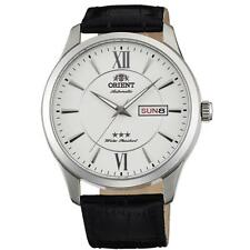 ORIENT MEN'S 43MM BLACK LEATHER BAND STEEL CASE AUTOMATIC WATCH FAB0B003W9