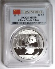 2017 Pcgs Ms 69 Silver Panda 10 Y China ~ First Strike Flag label ~ item #M1