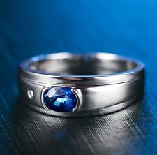 18ct White Gold Natural Sapphire and Diamond Unisex Style Ring Retail £5000