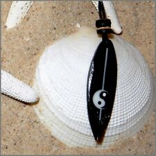 SURFBOARD PENDANT BLACK CORD NECKLACE WOD BEADS YIN YANG MEN WOMEN SURF BOY GIRL
