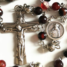 Agate & Tibet Silver Rose Beads catholic Rosary Necklace Italy Cross crucifix