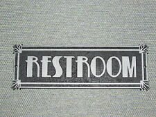 Restroom Sign Art Deco Style Silver and Black Bathroom Signs