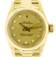 Ladies Rolex Solid 18k Yellow Gold Oyster Perpetual Watch Champagne Diamond 6719