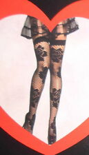 Two Pair LOVELY DAY Black Fishnet FLORAL FLOWERS Thigh High Stockings One Size