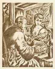 CHAMPAGNER mit der SCHÖNHEIT  - Patrick de MANCEAU - OriginalRadierung 1949