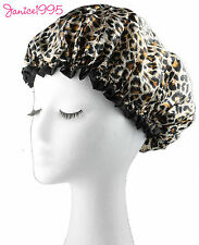 LEOPARD Quality Lined Waterproof Satin Shower Cap CREAM