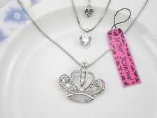 Betsey Johnson Super shiny zircon crown double chain Pendant Necklace # A401B
