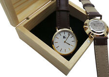 LADIES PERSONALISED Leather Wristwatch Luxury Watch Engraved Wooden Case