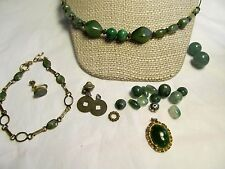 LOT ANTIQUE CHINESE JADE JEWELRY BEADS CARVED SPACERS ART DECO 12KT  & 14KT G.F.
