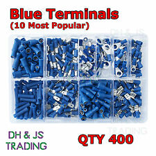 Assorted Box of Blue Electrical Terminals Terminal Butt Ring Bullet Fork Spade