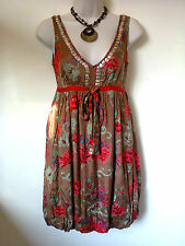 "River Island casual brown/red floral sequinned dress Size UK 6 32"" chest"