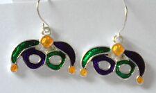 Mardi Gras Masque Earrings / Dangling Fish-hook / Silver-tone