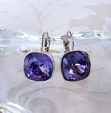 Tanzanite Purple Leverback Drop Earrings made with Cushion Cut Swarovski Crystal