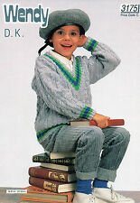 ~ Wendy Knitting Pattern For Child's Cabled V-Neck Sweater To Knit ~