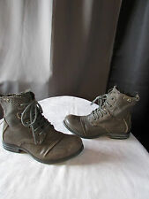 bottines bunker cuir et toile taupe pointure 36