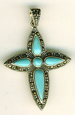 "925 Sterling Silver Turquoise & Marcasite Cross Pendant    (1.3/4"" x 1.1/8"")"