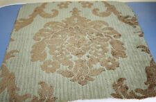 Woven Damask Chenille Fabric Drapery Upholstery Aqua Green Gold Bronze Remnant