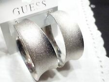 GUESS FASHION EARRING LARGE HOOP DANGLING  SILVER