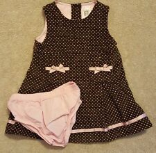 ADORABLE! CARTER'S 6M BROWN & PINK POLKA DOT  2PC  DRESS W/BLOOMERS