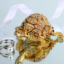 Handmade Gold Turtle Crystal Metal Trinket Boxes Jewelry Collectible Gifts Decor